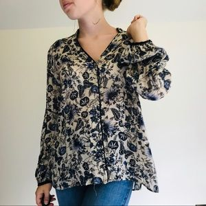 ZARA floral printed balloon sleeve blouse size L